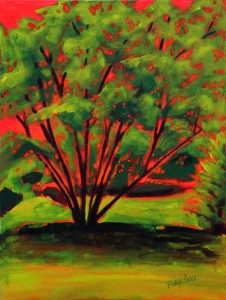 30B-BPrice-Hot-Evening-Tree-acrylic-18x24-Minimum-Bid-200