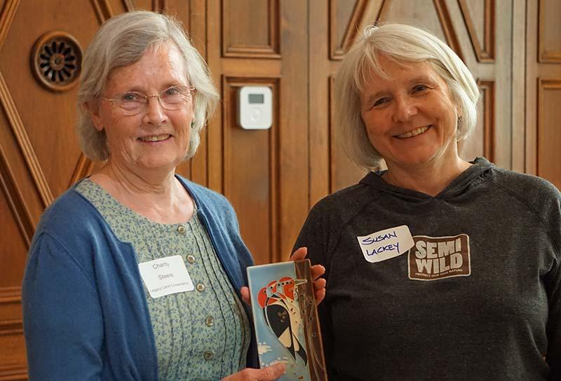 Charity Steere (left) receiving Gartland Award.