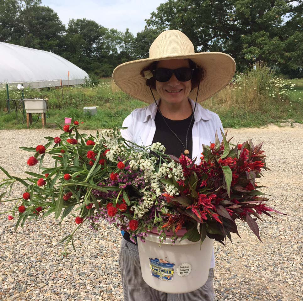 Trilby Becker picking flowers for bouquets she offers through a CSA.